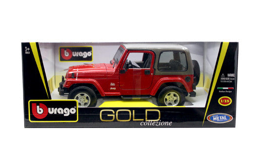BBURAGO 1:18 GOLD EDITION RED JEEP WRANGLER SAHARA BK TOP  DIECAST MODEL CAR