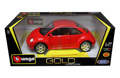 BBURAGO 1:18 1998 RED VOLKSWAGEN NEW BEETLE   DIECAST MODEL CAR