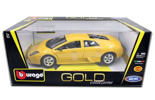 BBURAGO 1:18 GOLD EDITION YELLOW LAMBORGHINI MURCIELAGO  DIECAST MODEL CAR