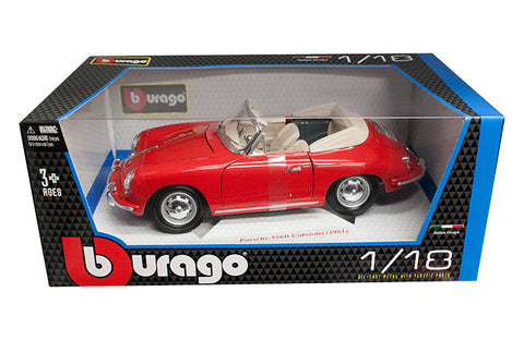 BBURAGO 1:18 1961 RED PORSCHE 356B CONV   DIECAST MODEL CAR