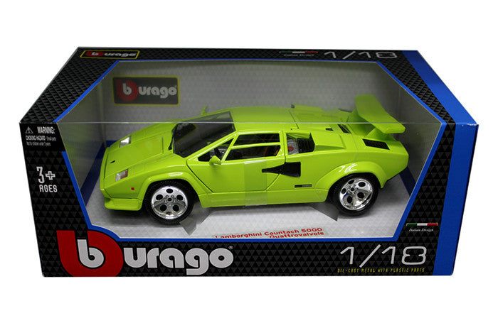 BBURAGO 1:18 GREEN LAMBORGHINI COUNTACH 5000  DIECAST MODEL CAR