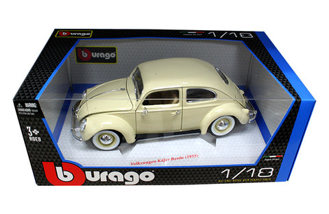 BBURAGO 1:18 1955 BEIGE VOLKSWAGEN BEETLE KAFER    DIECAST MODEL CAR