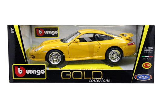 BBURAGO 1:18 GOLD EDITION 1997 YELLOW PORSCHE GT3 STRASSE  DIECAST MODEL CAR