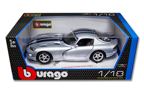 BBURAGO 1:18 SILVER DODGE VIPER GTS COUPE W/ BL STRIPE DIECAST MODEL CAR