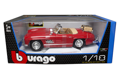 BBURAGO 1:18 1957 RED MERCEDES-BENZ 300 SL TOURING DIECAST MODEL CAR