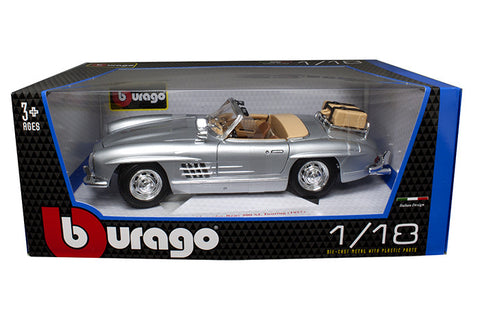 BBURAGO 1:18 1957 SILVER MERCEDES-BENZ 300 SL TOURING  DIECAST MODEL CAR