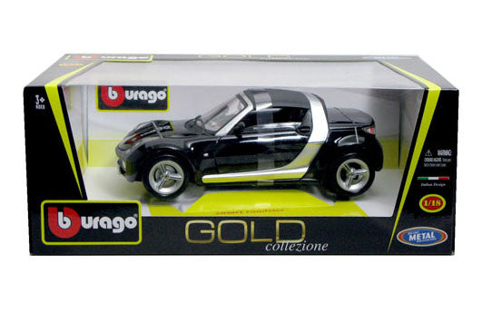 BBURAGO 1:18 GOLD EDITION BLACK SMART ROADSTER  DIECAST MODEL CAR