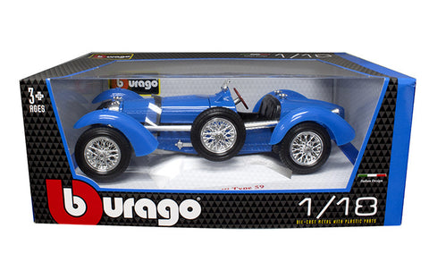 BBURAGO 1:18  1934 BLUE TYPE 59 BUGATTI DIECAST MODEL CAR