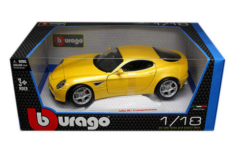 BBURAGO 1:18 2007 YELLOW ALFA 8C COMPETIZIONE  DIECAST MODEL CAR