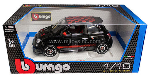 BBURAGO 1:18 FIAT ABARTH 500 BK W/ RD CHECK ON TOP DIECAST MODEL CAR