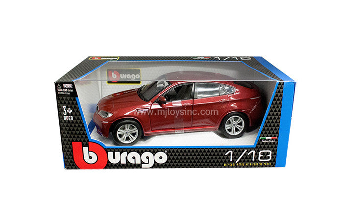 BBURAGO 1:18 RED BMW X6 M DIECAST MODEL CAR