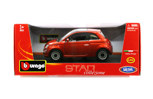 BBURAGO 1:24 W/B STAR ORANGE FIAT 500 2007  DIECAST MODEL CAR