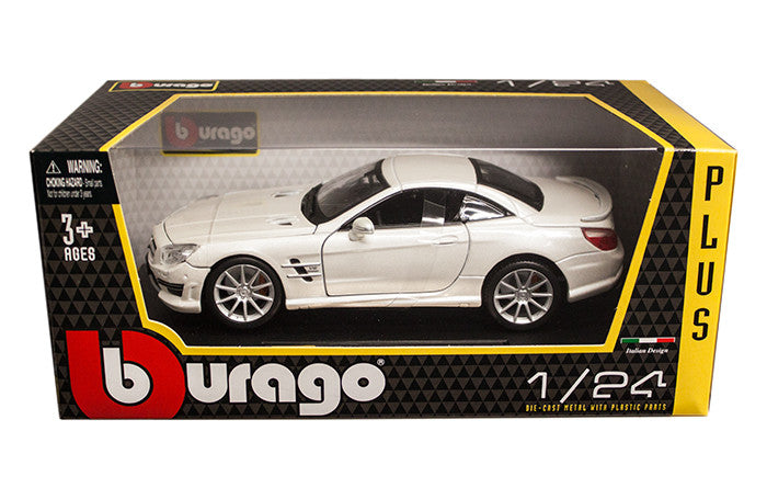 BBURAGO 1:24 W/B PLUS WHITE MERCEDES-BENZ SL 65 AMG DIECAST MODEL CAR