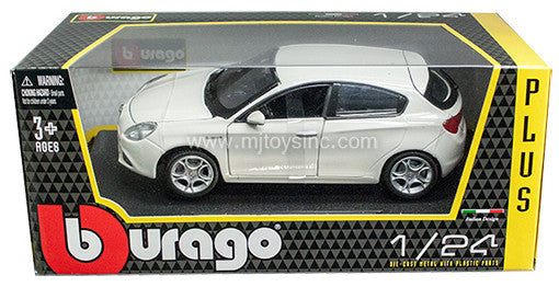 BBURAGO 1:24 W/B PLUS WHITE ALFA ROMEO GIULIETTA   DIECAST MODEL CAR