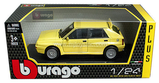 BBURAGO 1:24 W/B PLUS YELLOW LANCIA DELTA HF INTEGRALE EVO 2 YL   DIECAST MODEL CAR