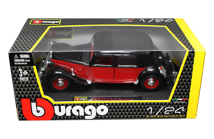 BBURAGO 1:24 W/B 1938 BLACK/RED CITROEN 15 CV TA    DIECAST MODEL CAR