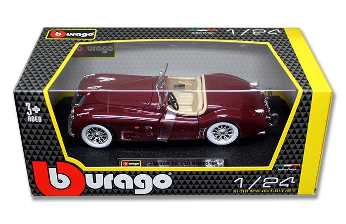 BBURAGO 1:24 W/B RED JAGUAR 1951  XK120 ROADSTER DIECAST MODEL CAR