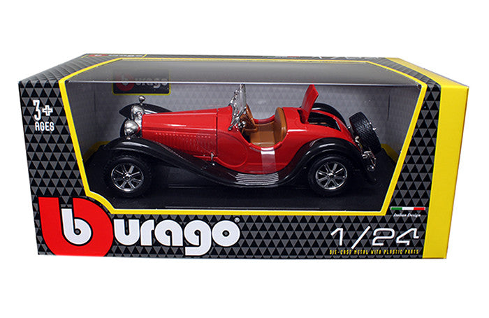 BBURAGO 1:24 W/B 1932 RED BUGATTI  TYPE 55 DIECAST MODEL CAR