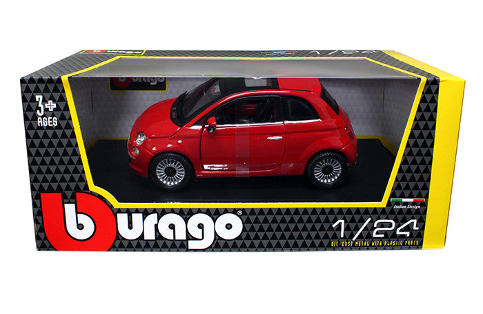 BBURAGO 1:24 W/B 2007 REDFIAT 500 DIECAST MODEL CAR