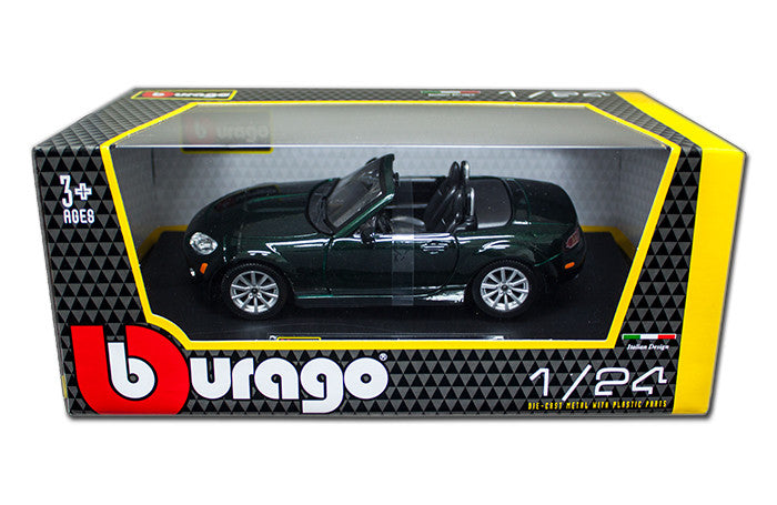 BBURAGO 1:24 W/B 2007 GREEN MAZDA MX-5  DIECAST MODEL CAR