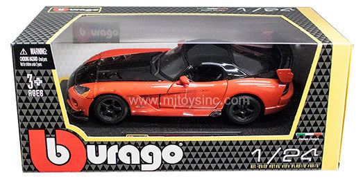 BBURAGO 1:24 W/B ORANGE&BLACK DODGE VIPER SRT10 ACR   DIECAST MODEL CAR