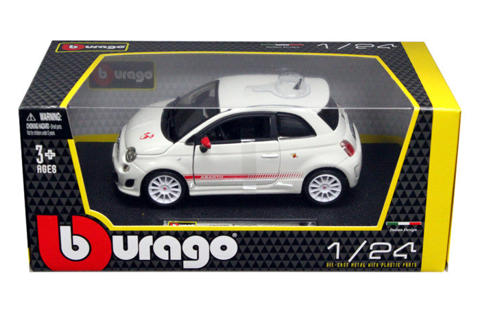 BBURAGO 1:24 W/B WHITE ABARTH 500 ESSEESSE W/ WH WHEEL  DIECAST MODEL CAR