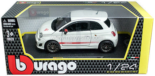 BBURAGO 1:24 W/B WHITE FIAT ABARTH 500 ESSEESSE W/ GREY RIM   DIECAST MODEL CAR