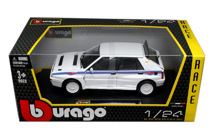 BBURAGO 1:24 W/B RACE WHITE LANCIA DELTA HF INTEGRALE EVO #1   DIECAST MODEL CAR