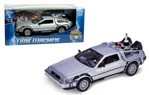 "De Lorean ""Back To The Future II"" Movie 1:24 Scale Diecast Model Car By Welly"