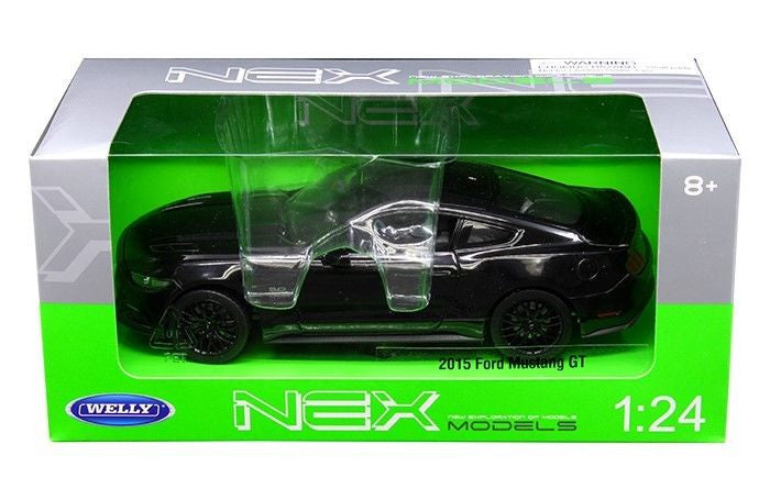 2015 FORD MUSTANG GT BLACK 1/24 DIECAST CAR MODEL BY WELLY