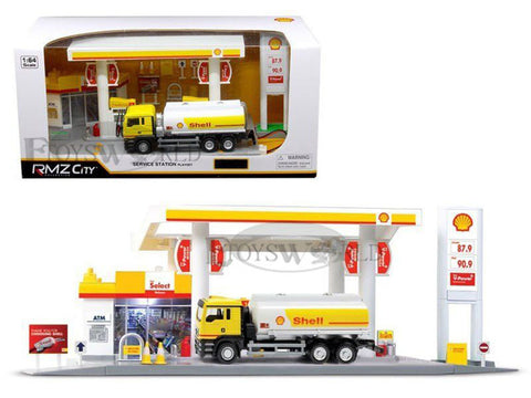 DIORAMA SHELL SERVICE STATION W/ TANKER 1:64 SCALE PLAYSET WITH LIGHT & SOUND BY RMZ CITY