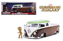 Jada 1:24 Scale Marvel Guardians of the Galaxy Groot Movie & 1963 Volkswagen Bus Pickup (Green/White/Brown) Model
