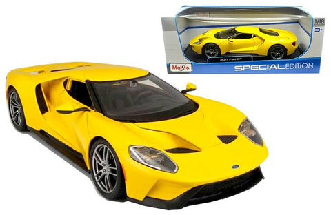 Maisto 1:18 Sclae 2017 Yellow Ford GT Diecast Model Car