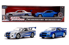 JADA 1/32 NISSAN SKYLINE GT-R R34 SILVER & BLUE FAST & FURIOUS MOVIE 2 PACK 31980