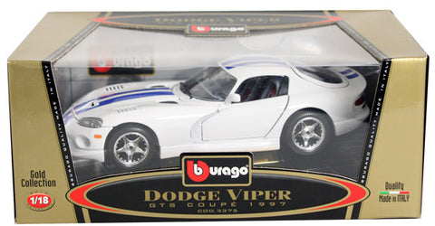 BBURAGO 1:18 GOLD EDITION 1997 WHITE DODGE VIPER GTS COUPE WITH BLUE STRIPE  DIECAST MODEL CAR