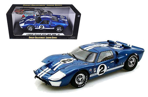 1966 FORD GT-40 MK II #2 BLUE 1/18 DIECAST MODEL CAR SHELBY COLLECTIBLES 401BL