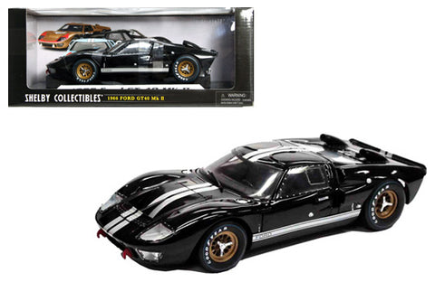 1966 FORD GT-40 MK II BLACK W/STRIPES 1/18 DIECAST CAR SHELBY COLLECTIBLES 402BK