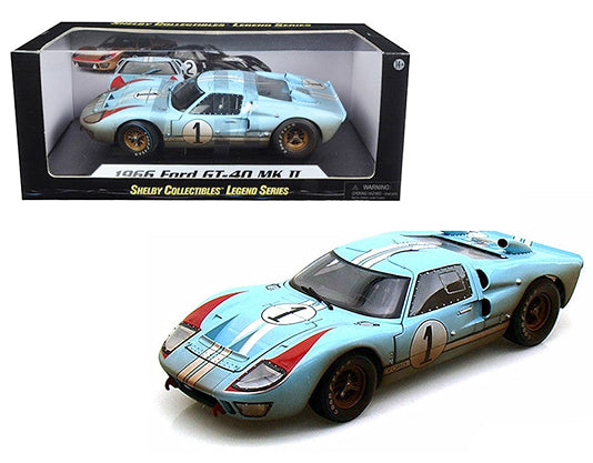 1966 Ford GT40 Mark II #1 Le Mans Miles/Hulme 1/18 Gulf Blue (Dirty Version) by Shelby 405BL
