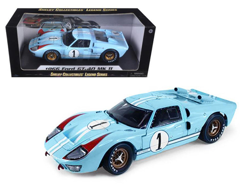 1966 Ford GT40 Mark II #1 Le Mans Miles/Hulme 1/18 Gulf Blue by Shelby 411BL