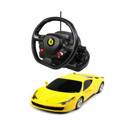 Rastar 1/18 Scale Yellow Ferrari 458 Italia RC Model Car With Steering Controller