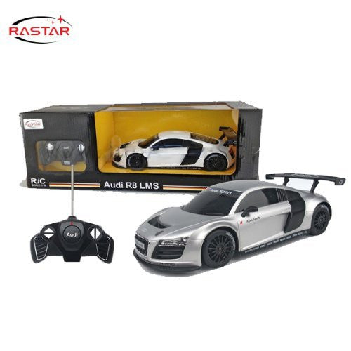 Rastar 1/18 Scale Silver Audi R8 RC Model Car RTR