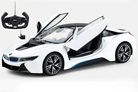 Rastar 1/14 Scale White BMW i8 Authentic Body Styling w/Open Doors Licensed RC Model Car RTR