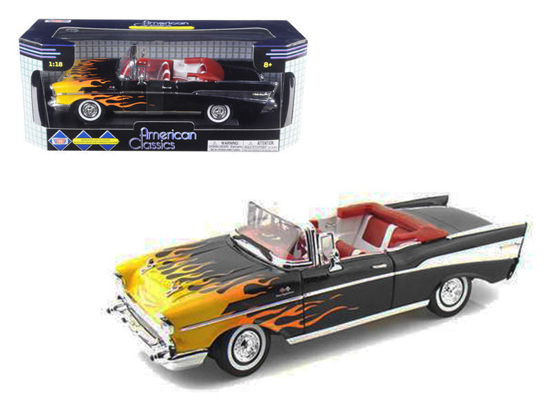 Motor Max 1:18 Sclae 1957 Chevrolet Bel Air Convertible Black With Flames Diecast Model Car