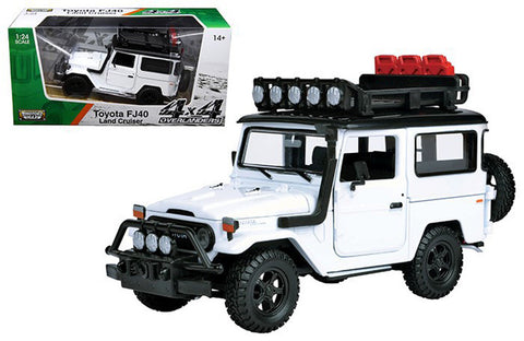 MOTOR MAX PLATINUM 1:24 SCALE WHITE TOYOTA FJ40 LAND CRUISER DIECAST CAR MODEL