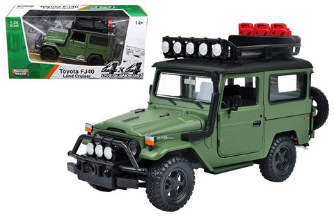 MOTOR MAX PLATINUM 1:24 SCALE GREEN TOYOTA FJ40 LAND CRUISER DIECAST CAR MODEL