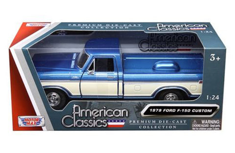 1979 FORD F-150 TRUCK BLUE/CREAM PICKUP 1/24 DIECAST MODEL CAR BY MOTORMAX
