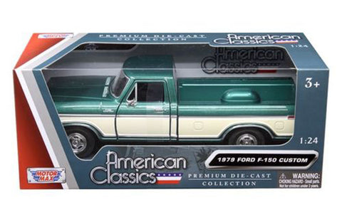 1979 FORD F-150 TRUCK GREEN/CREAM PICKUP 1/24 DIECAST MODEL CAR BY MOTORMAX