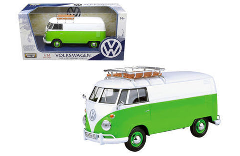 VOLKSWAGEN TYPE 2 (T1) DELIVERY VAN GREEN/WHITE 1:24 BY MOTORMAX