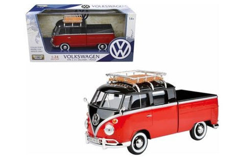 VOLKSWAGEN TYPE 2 (T1) DELIVERY PICKUP TRUCK RED/BLACK 1:24 BY MOTORMAX