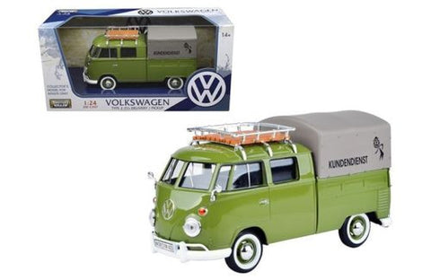 VOLKSWAGEN TYPE 2 (T1) DELIVERY PICKUP TRUCK GREEN 1:24 BY MOTORMAX